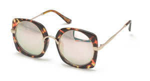 7082REV Women's Combo Large Square Designer Frame w/ Spectrum Color Mirror Lens
