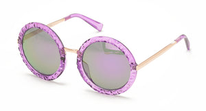 7083CRY/RV Women's Plastic Large Round Scalloped Crystal Color Frame w/ Color Mirror Lens