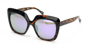 7087REV Women's Plastic Large Square Frame w/ Spectrum Color Mirror Lens