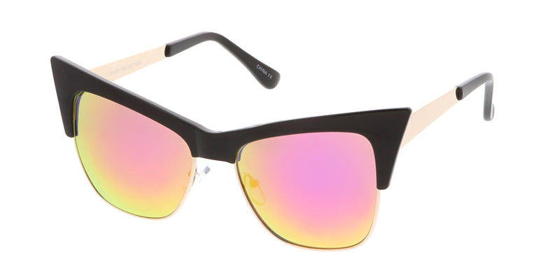 7102REV Women's Combo Extreme Cat Eye w/ Spectrum Color Mirror Lens