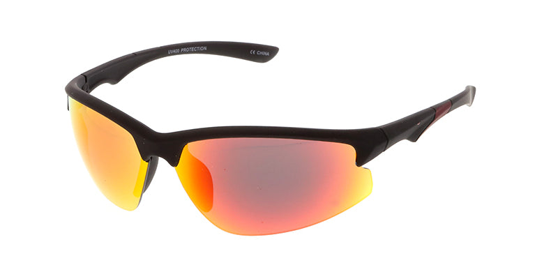 7176ME/RV Men's Plastic Sport Soft Rubberized Finish Sport Frame w/ Color Mirror Lens