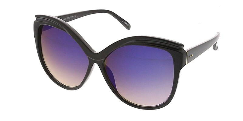 7208RV Women's Plastic Oversized Frame w/ Color Mirror Lens