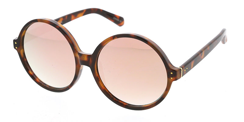 7210RV Women's Plastic Oversized Round Frame w/ Color Mirror Lens