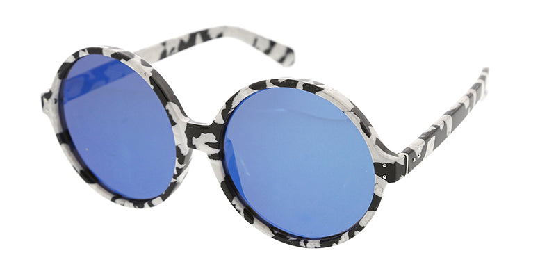 7211 Women's Plastic Oversized Round Frame w/ Marbled Print