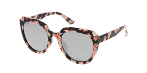 7238RV Women's Plastic Large Tipped Cat Eye Multicolor Print Frame w/ Color Mirror Lens