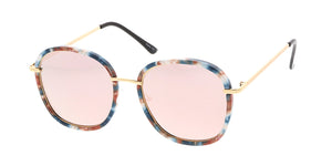 7246RV Women's Combo Large Rounded Multicolor Print Frame w/ Color Mirror Lens