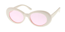 7268WHT/COL Women's Plastic Oval Retro White Frame w/ Color Lens Clout Goggles
