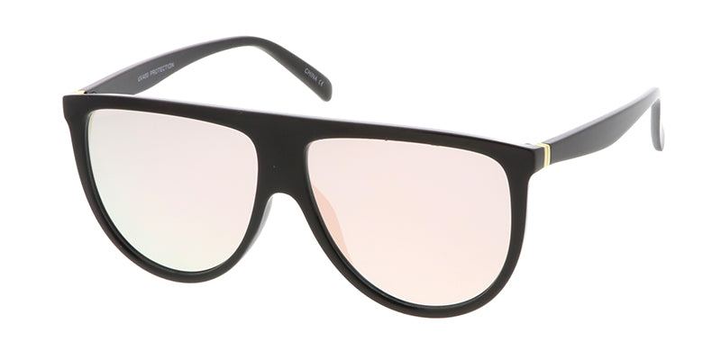 7281RV Women's Plastic Large Flat Top Designer Frame w/ Color Mirror Lens