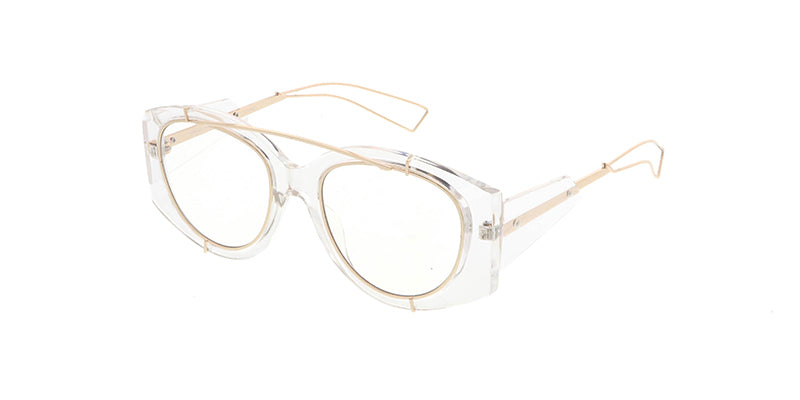 7307CLR Unisex Combo Large Vintage Inspired Crystal Clear Frame w/ Metal Inset Accents and Clear Lens