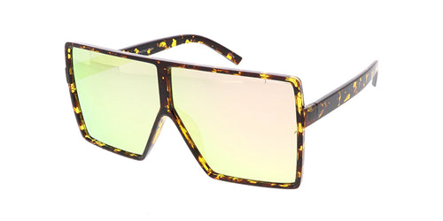 7318RV Women's Large Plastic Square Frame w/ Color Mirror Lens