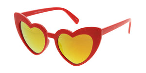 7340HRT/RV Women's Plastic Heart Frame w/ Color Mirror Lens