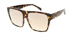 7342RV Women's Plastic Oversize Square Flat Top Frame w/ Color Mirror Lens