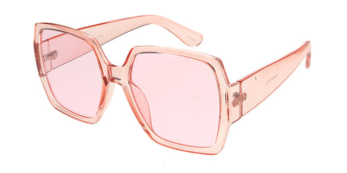 7344CRY/COL Women's Plastic Oversize Square Crystal Color Frame w/ Color Lens