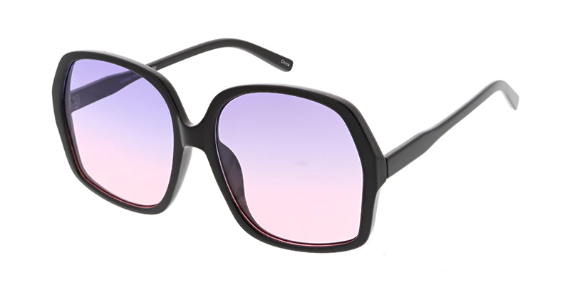 7353COL Women's Plastic Large Rounded Square Frame w/ Two Tone Lens