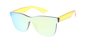 7369RV Unisex Plastic Color Block Square Frame w/ Color Mirror Lens