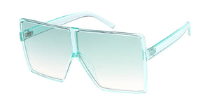 7416CRY/COL Women's Plastic Oversized Monochromatic Square Frame w/ Color Lens
