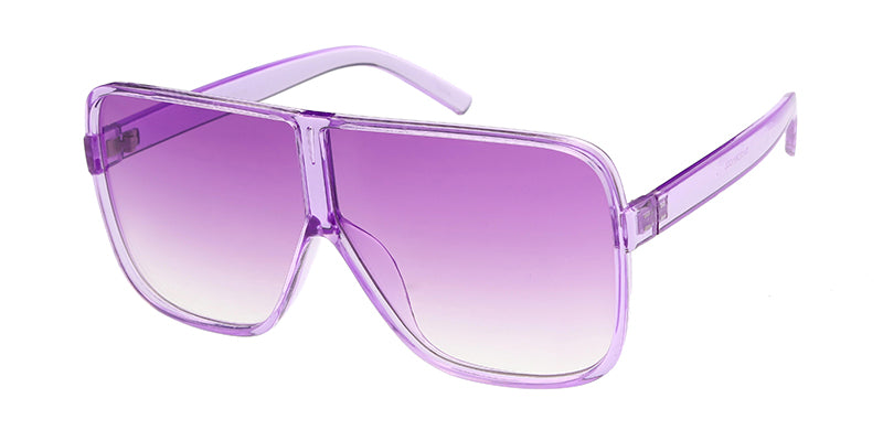 7417CRY/COL Women's Plastic Oversized Monochromatic Rounded Square Frame w/ Color Lens