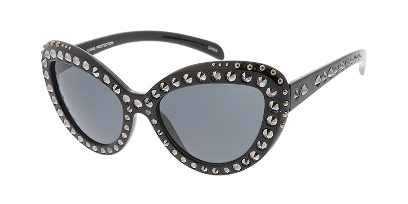 7508ST Women's Plastic Medium Cat Eye Studded Frame