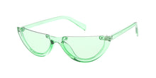 7564CRY/COL Women's Plastic Small Half Frame Vintage Inspired Cat Eye Crystal Color Frame w/ Color Lens