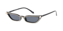 7612RH Women's Plastic Small Vintage Inspired Cat Eye Frame w/ Rhinestones