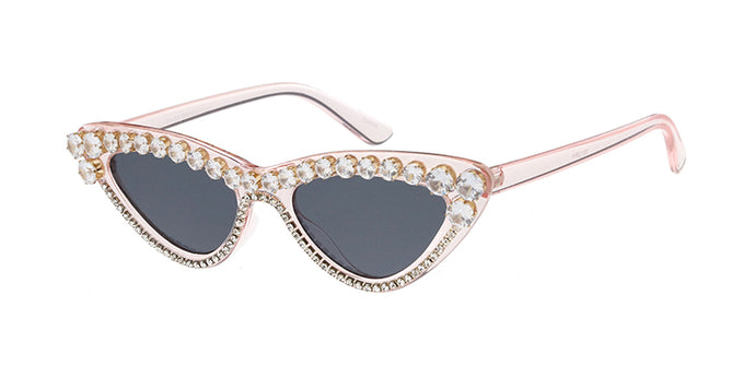 SS7613RH-PNK Women's Plastic Small Cat Eye Crystal Pink Frame w/ Rhinestone Adornment (Single Color)