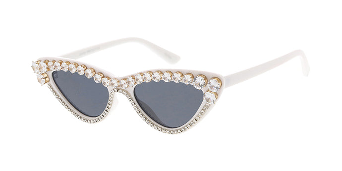 SS7613RH-WHT Women's Plastic Small Cat Eye White Frame w/ Rhinestone Adornment (Single Color)