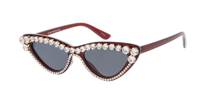 SS7613RH-RED Women's Plastic Small Cat Eye Crystal Red Frame w/ Rhinestone Adornment (Single Color)