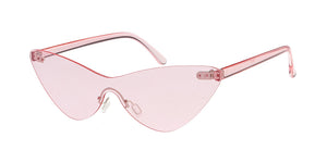 7615 Women's Plastic Medium Monochrome Cat Eye Shield Frame w/ Color Lens