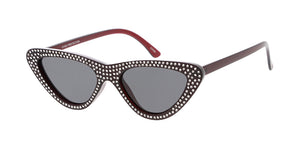 7616RH Women's Plastic Small Cat Eye Frame w/ Rhinestones