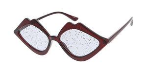 7618GLT Women's Plastic Medium Crystal Color Lips Frame w/ Glitter Lens