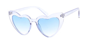 7619CRY/COL Women's Plastic Large Monochromatic Crystal Color Cat Eye Frame w/ Color Lens
