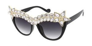 7636RH Women's Plastic Large Cat Eye Rhinestone Crown Frame