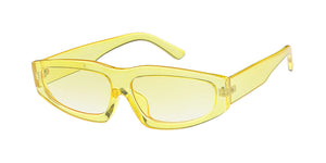 7639CRY/COL Women's Plastic Small Chunky Monochromatic Crystal Color Frame w/ Color Lens
