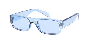 7673CRY/COL Unisex Plastic Medium Rectangular Flat Top Crystal Color Monochromatic Frame w/ Color Lens