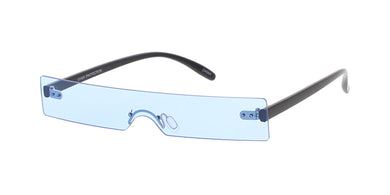 7675 Unisex Plastic Small Rectangular Futuristic Rimless Shield