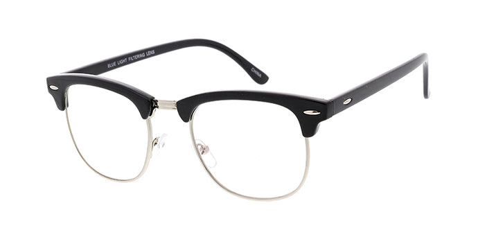 SS7717BLF/CLR-B Unisex Combo Medium Clubber Frame w/ Blue Light Filtering Clear Lens Computer Glasses (Single Color)