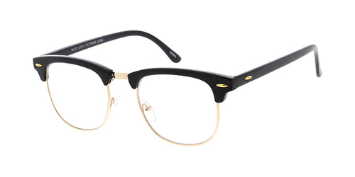 SS7717BLF/CLR-B Unisex Combo Medium Clubber Frame w/ Blue Light Filtering Clear Lens Computer Glasses (Black/Gold Color Only)