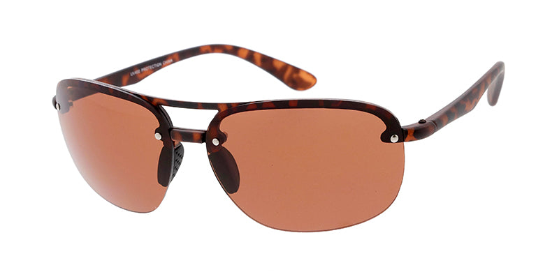 7724ME Men's Plastic Casual Medium Rectangular Double Bridge Frame w/ Driving Lens (Day and Night)