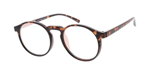 7733RV Unisex Plastic Medium Round Schoolboy Vintage Inspired Hipster Frame w/ Flash Mirror (Very Light) Lens
