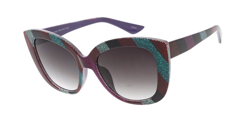 7783GLT Women's Plastic Large Striped Glitter Cat Eye Frame