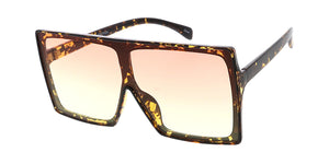 7804COL Women's Plastic Oversized Rectangular Shield Frame w/ Two Tone Lens