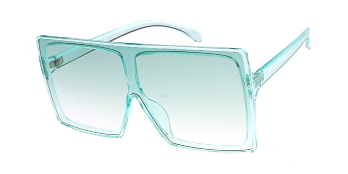 7805CRY/COL Women's Plastic Oversized Rectangular Crystal Color Shield Frame w/ Color Lens