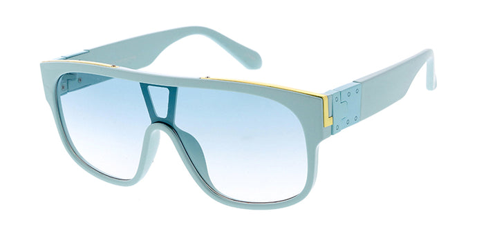 7895COL Unisex Plastic Large Flat Top Shield Color Frame w/ Metal Accents and Color Lens