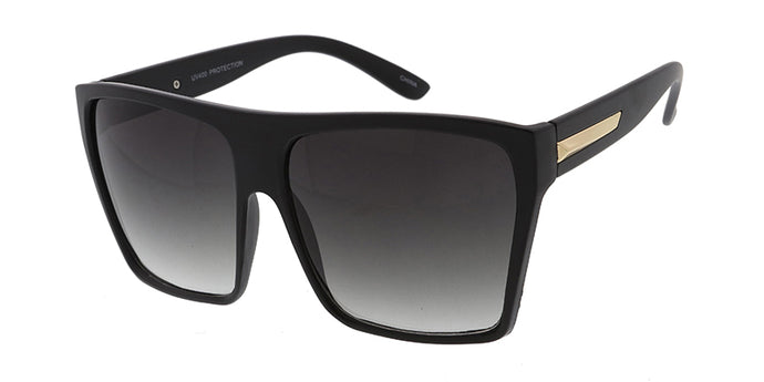 SS8818-BLK Women's Plastic Oversized Rectangular Frame w/ Metal Accent (Single Color)