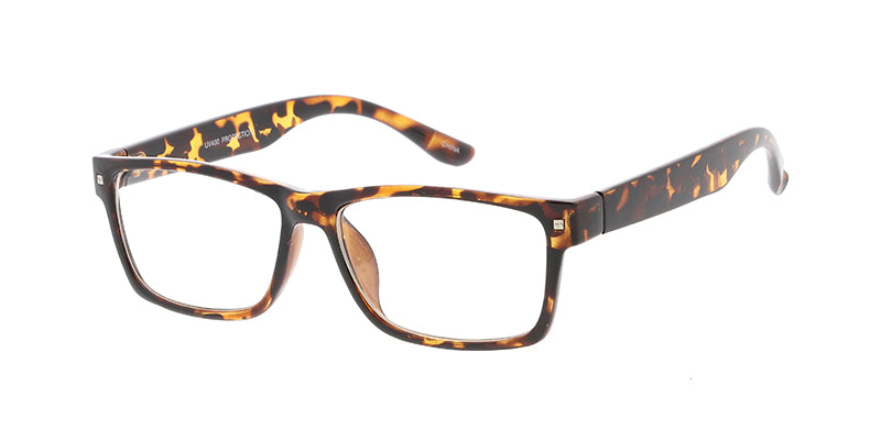 8824CLR Unisex Plastic Small Rectangular Classic Frame w/ Clear Lens