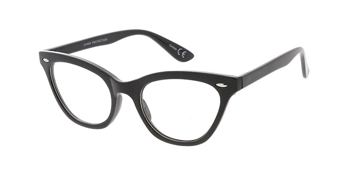 9219CLR Women's Plastic Small Classic Rockabilly Vintage Inspired Cat Eye Frame w/ Clear Lens