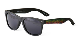 9474SFT Unisex Soft Rubberized Finish Standard Black WF w/ Rasta Cannabis Print