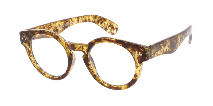 9494CLR Unisex Plastic Medium Round Vintage Inspired Frame w/ Clear Lens