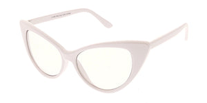 9686CLR Women's Plastic Thin Cat Eye w/ Clear Lens