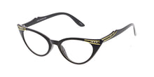 9714CLR/RH Women's Plastic Vintage Inspired Cat Eye Rhinestones w/ Clear Lens